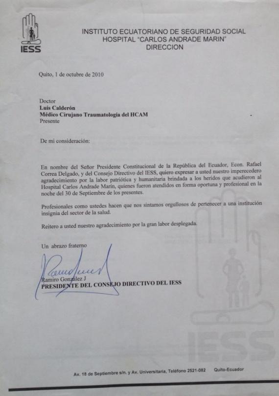 Carta de Felicitación del Doctor Luis Calderón